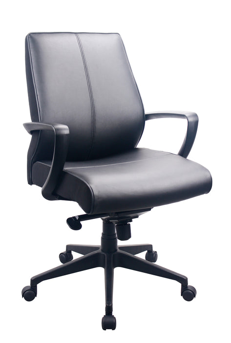 "HomeRoots Office 25.5"" x 28.75"" x 40"" Black Leather Chair"