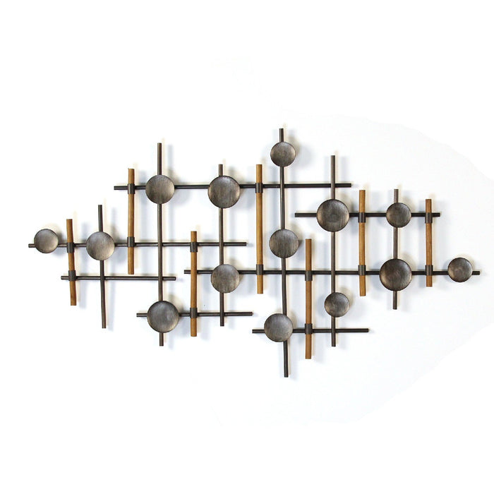 "HomeRoots 39.37"" X 1.18"" X 23.62"" Gunmetal Metal Wall Sculpture"