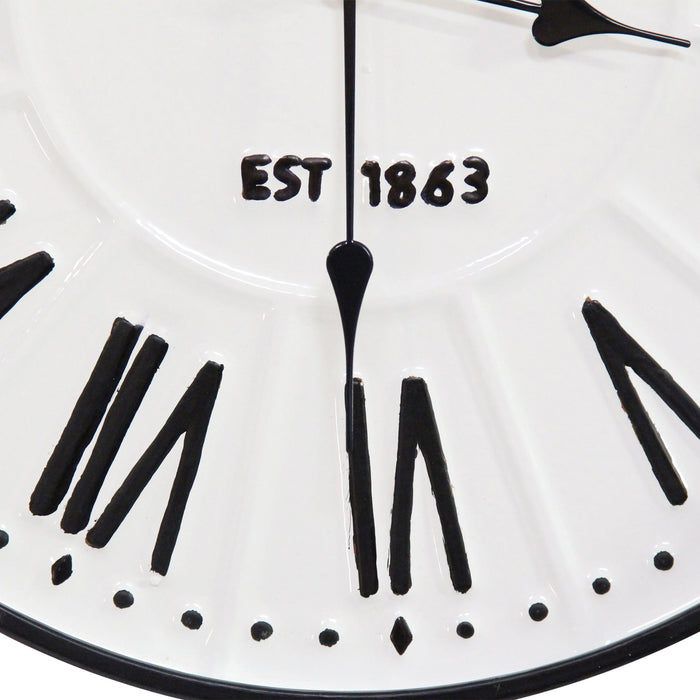 "HomeRoots 16"" X 1.97"" X 16"" Black White Metal Plastic Wall Clock"