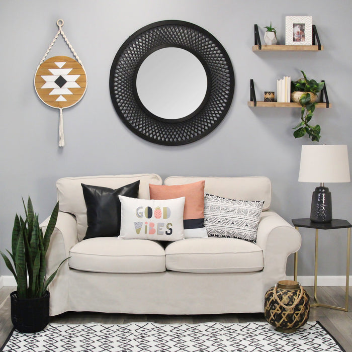 "HomeRoots 16.25"" X 0.5"" X 35"" White Black Natural Wood Mdf Rope Wall Art"