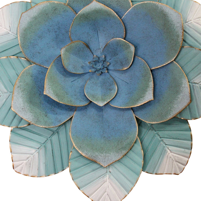 "HomeRoots 21.26"" X 2.36"" X 21.26"" Blue Metal Wall Decor"