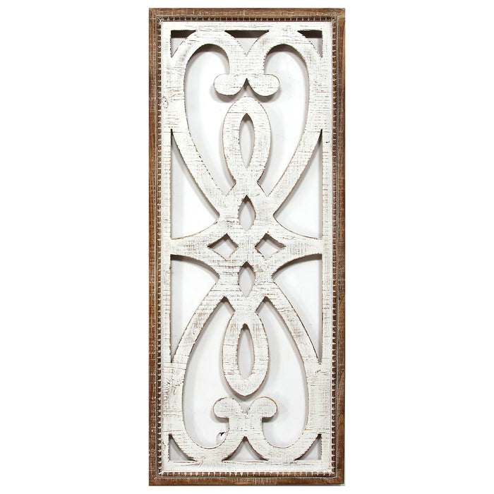 "HomeRoots 14"" X 1"" X 34"" White Natural Wood Mdf With Wood Veneer Wall Décor"