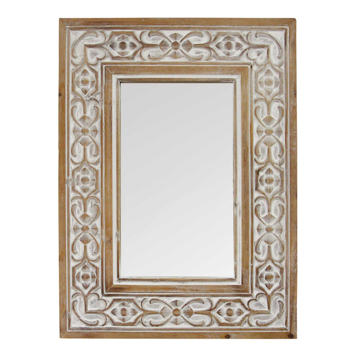 "HomeRoots 23.5"" X 1"" X 31.5"" Natural Wood White Wood Mdf Mirror Wall Mirror"