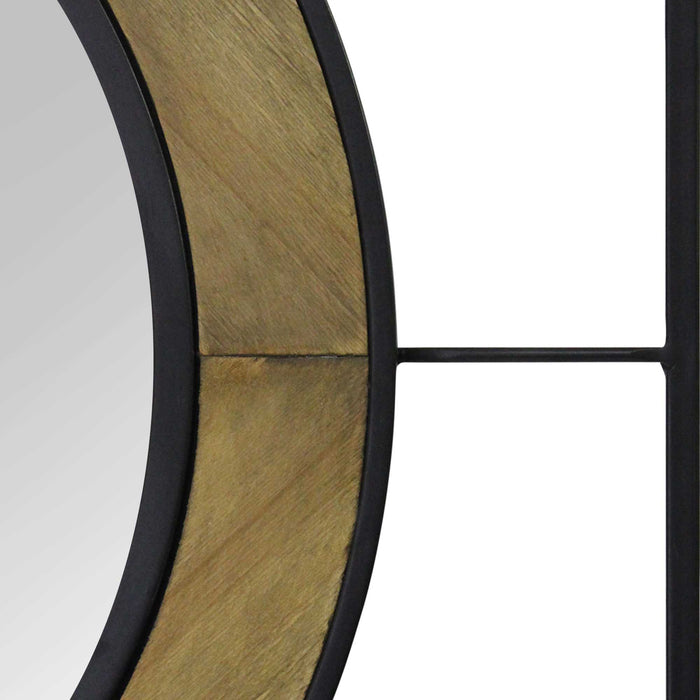 "HomeRoots 30"" X 2"" X 30"" Black Natural Wood  Metal Mdf With Wood Veneer 1 Mirror 1 Mdf Wall Mirror"
