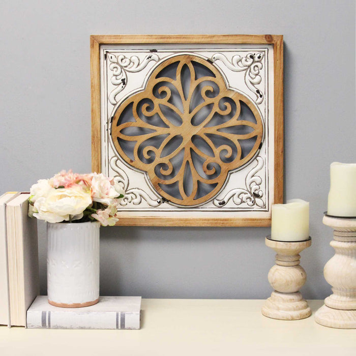 "HomeRoots 16"" X 1.25"" X 16"" White Wood Mdf With Wood Veneer Metal Wall Décor"