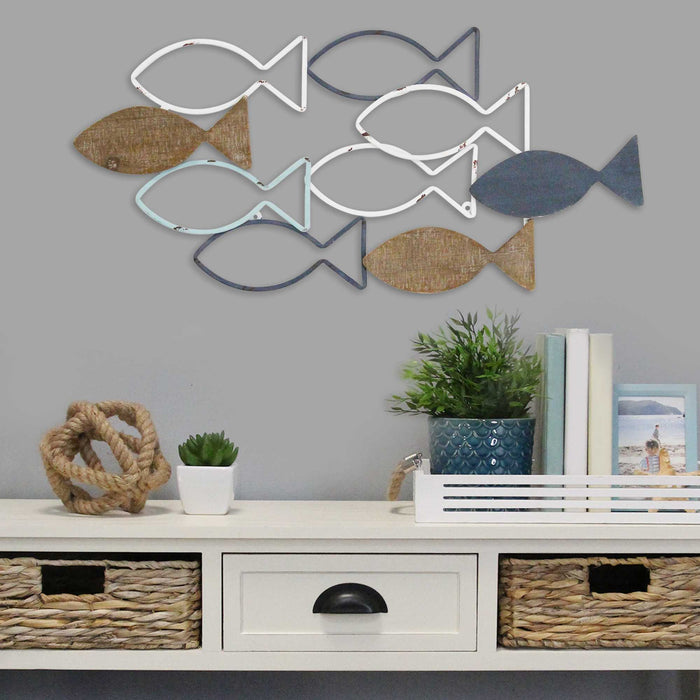"HomeRoots 31"" X 0.4"" X 14.3"" Multi Metal Mdf With Wood Veneer Wall Décor"