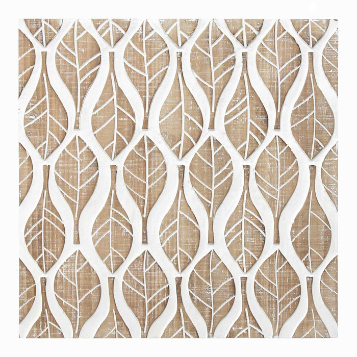 "HomeRoots 15.75"" X 1.18"" X 15.75"" Natural White Mdf Veneer Wall Decor"