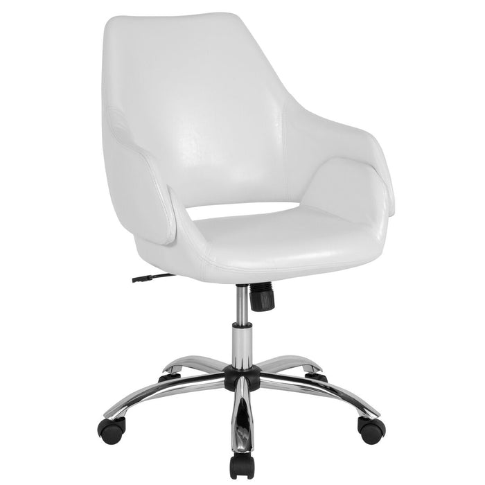 Atlanta Furniture Co. White Leather Mid-Back Chair