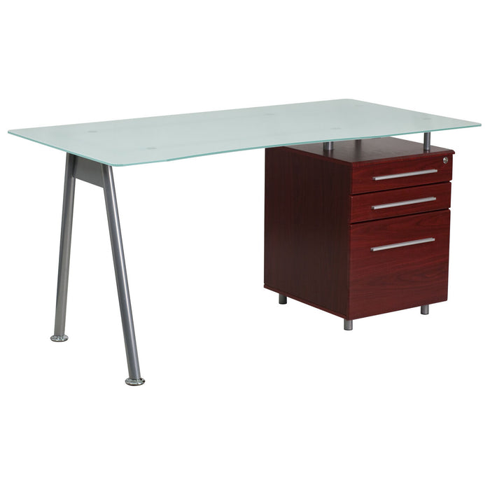 Atlanta Furniture Co. Glass 3 Drawer Mahogany Desk