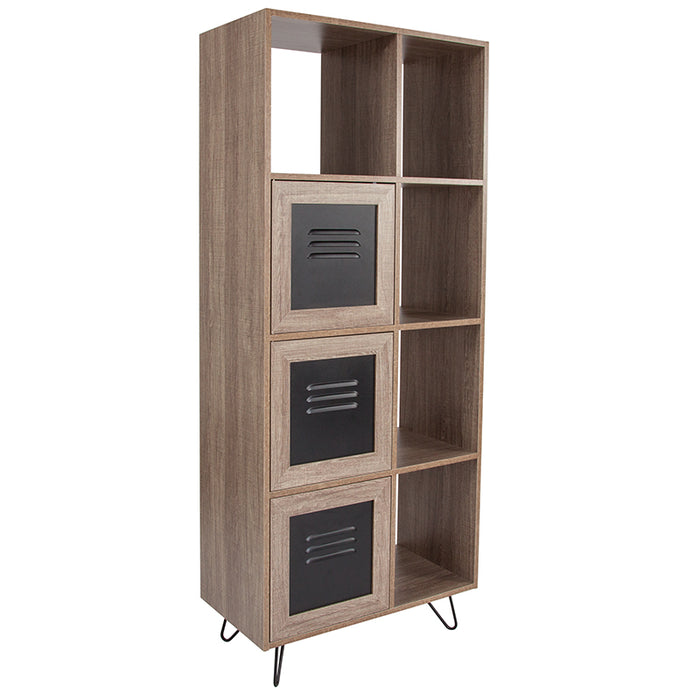 "Atlanta Furniture Co. 63""H Rustic Bookshelf - Doors"