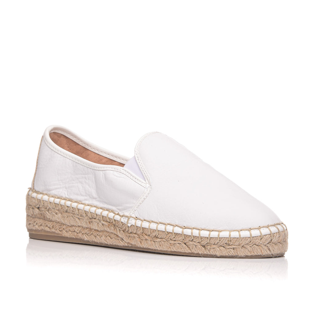 CLARA DURAN ESPADRILLES LEATHER BIANCO
