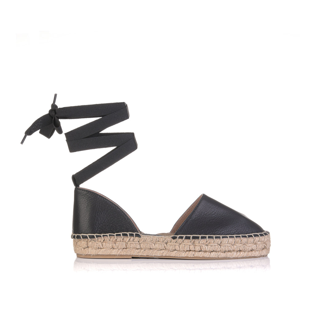 CLARA DURAN ESPADRILLES LEATHER NEGRO