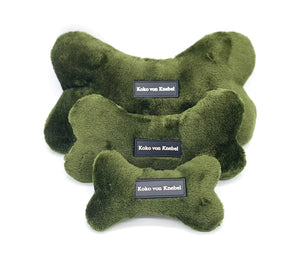 Plush bone with squeaker in three sizes and three colors