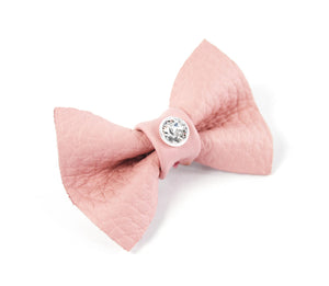 KvK - leather dog hair bow with clip - crystal