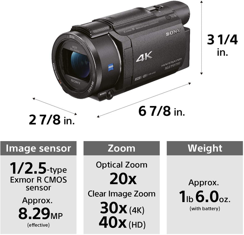 Sony FDRAX53/B 4K Video Camcorder, Black