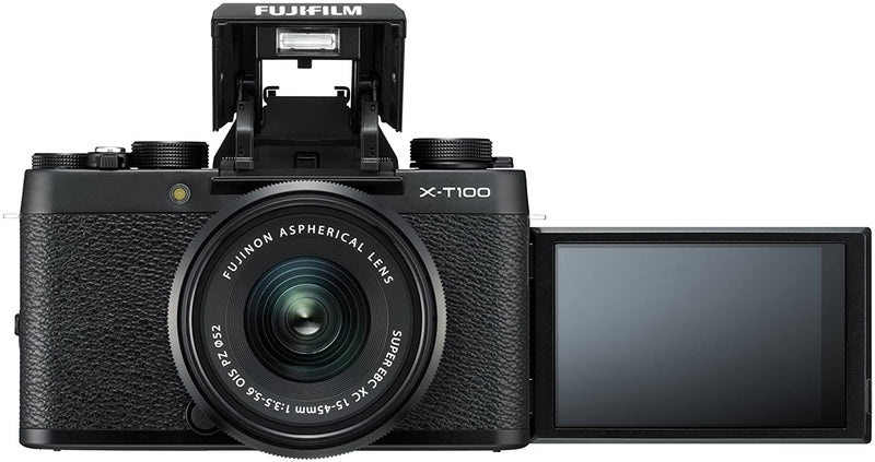 Fujifilm X-T100 Mirrorless Camera with XC 15-45mm f/3.5-5.6 OIS PZ Lens, Black