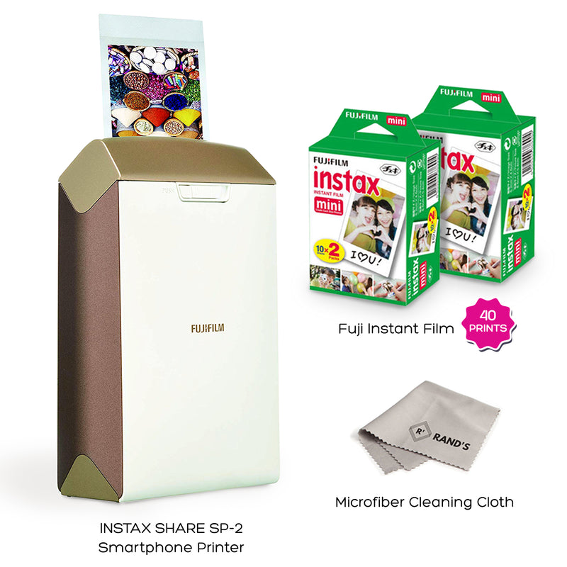 Fujifilm Instax Share Smartphone Printer SP2 (Gold) with Instax Mini Twin Pack Instant Film (40 Sheets) Super Value Bundle