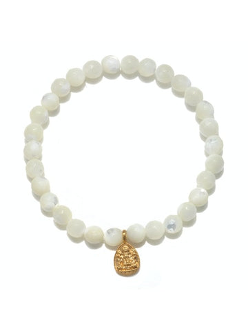Satya Gold Mother of Pearl Ganesha Stretch Bracelet