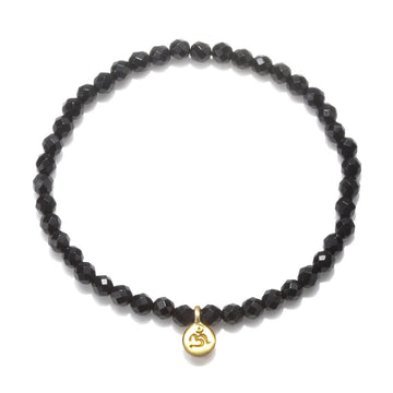 Satya Gold Onyx Mini OM Stretch Bracelet