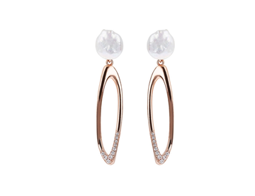 Bronzallure Elongated Drop Earring with Pearl Top
