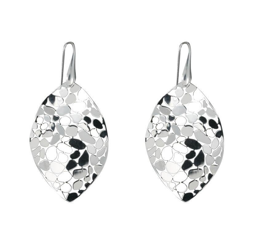 Marsielle Sterling Silver Large Marquis Polished Mosaic Drop Earrings