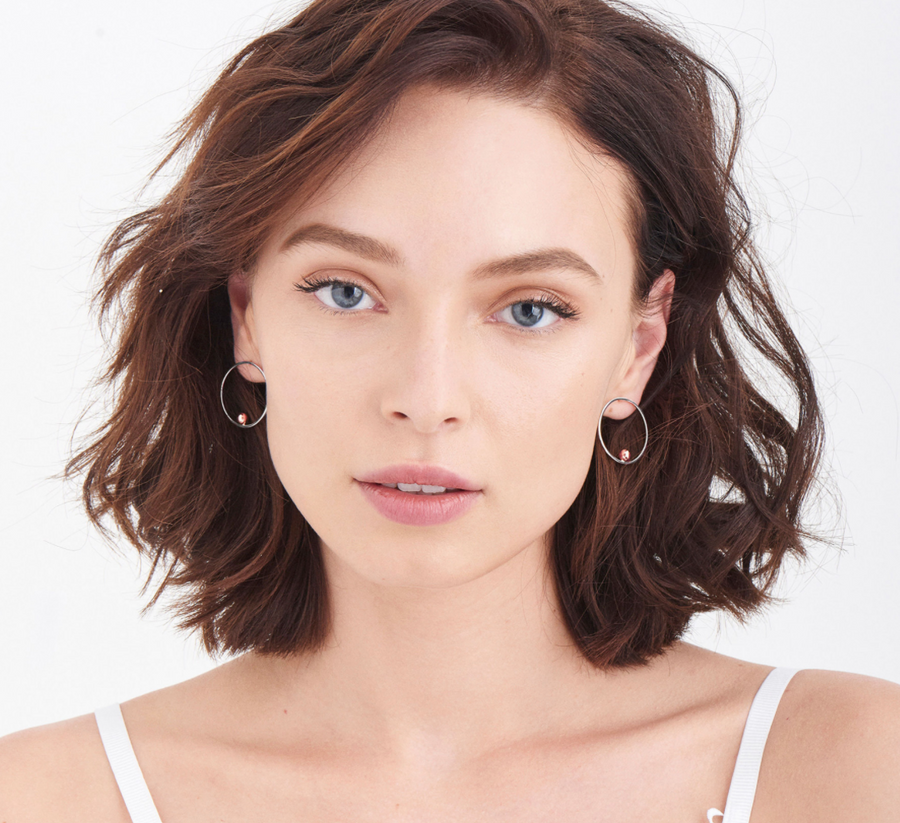 Ania Haie Orbit Front Hoop Earrings Silver and Rose Gold