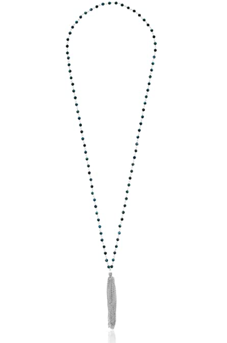 Satya Turquoise Sterling Silver Solace of Spirit Tassel Necklace