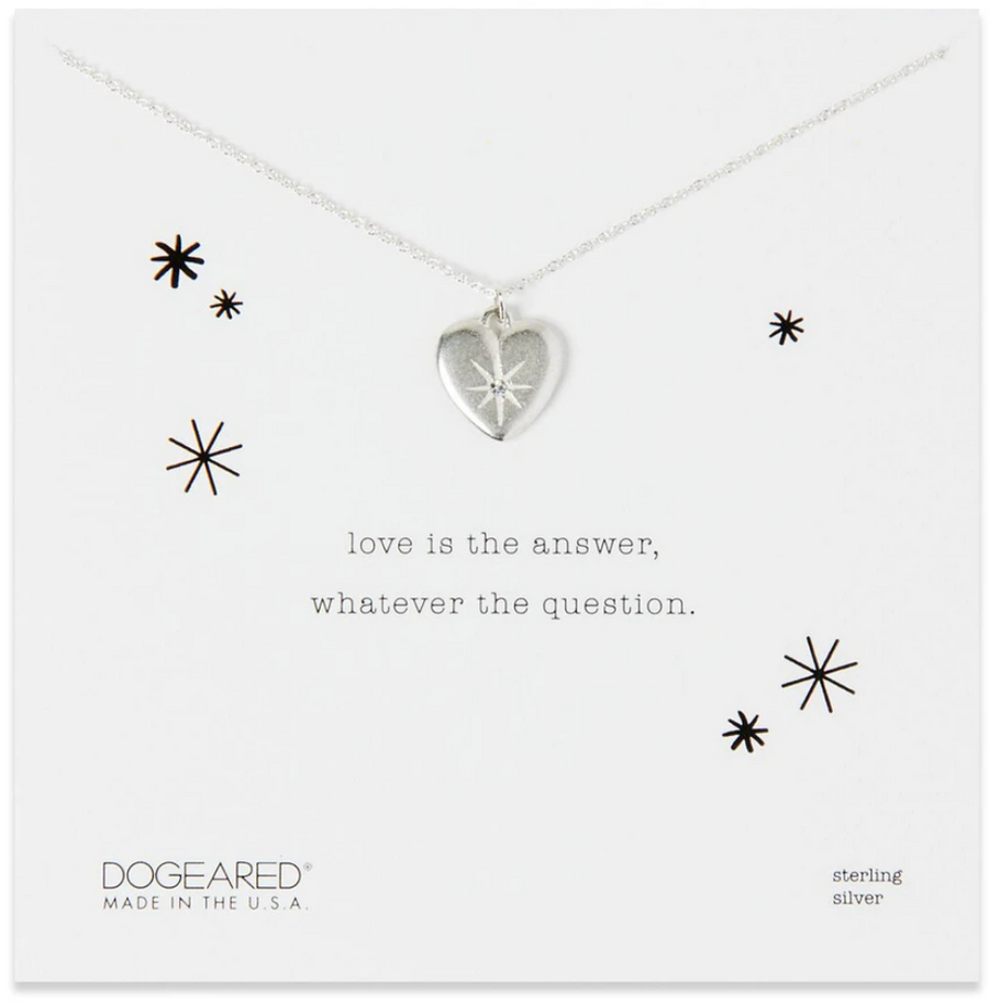 DOGEARED SILVER LOVE IS THE ANSWER NECKLACE