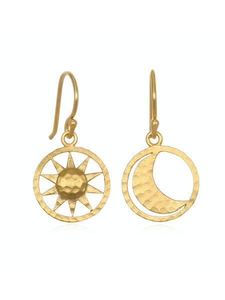 Satya Gold Sun and Moon Earrings