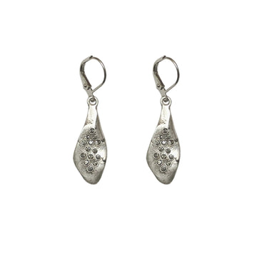 TAT2 Silver Teardrop Crystal Impression Earrings