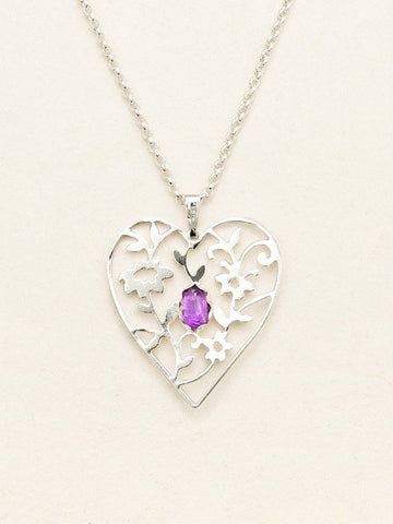 Holly Yashi Amethsyt/Silver Blooming Heart Necklace