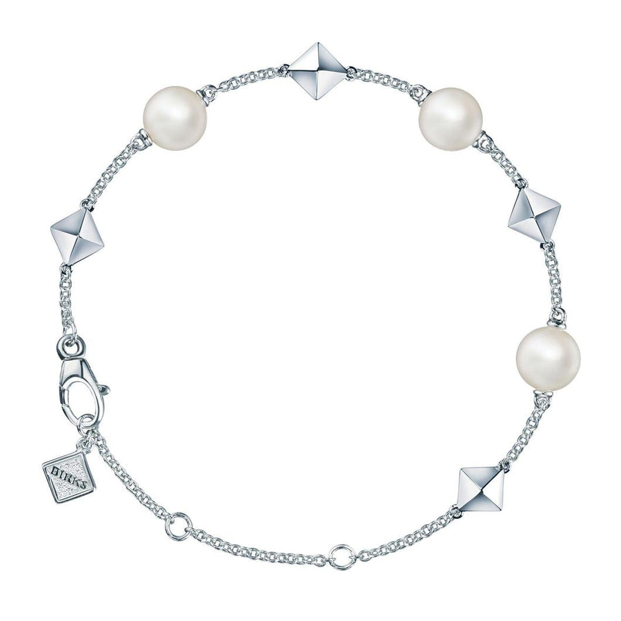 Birks Sterling Rock & Pearl Fresh Water Pearl Station Bracelet