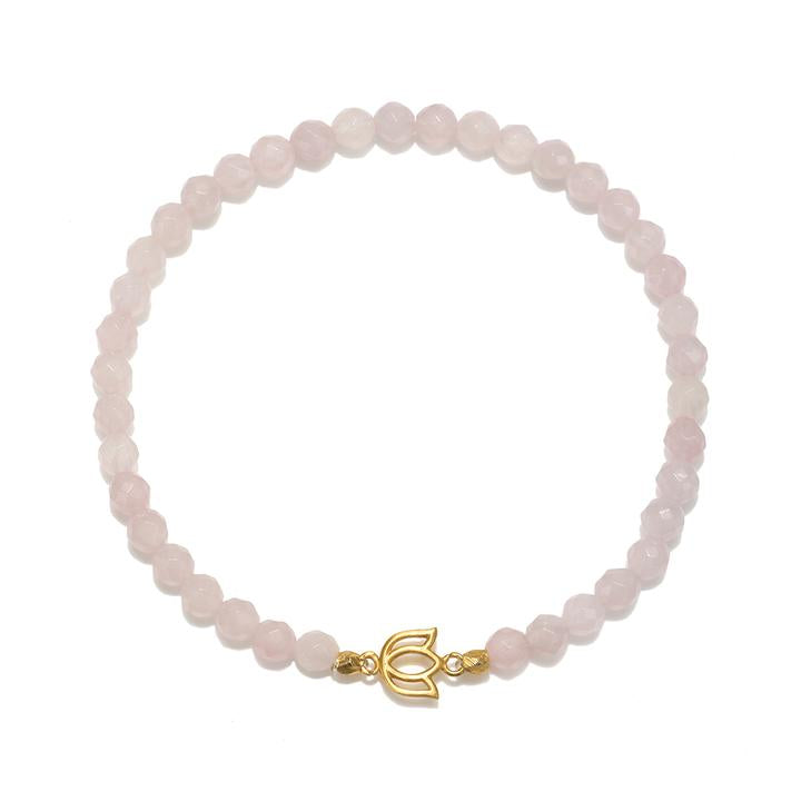 SATYA ROSE QUARTZ GOLD LOTUS BRACELET