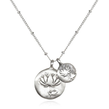 Satya Silver Double Lotus Necklace