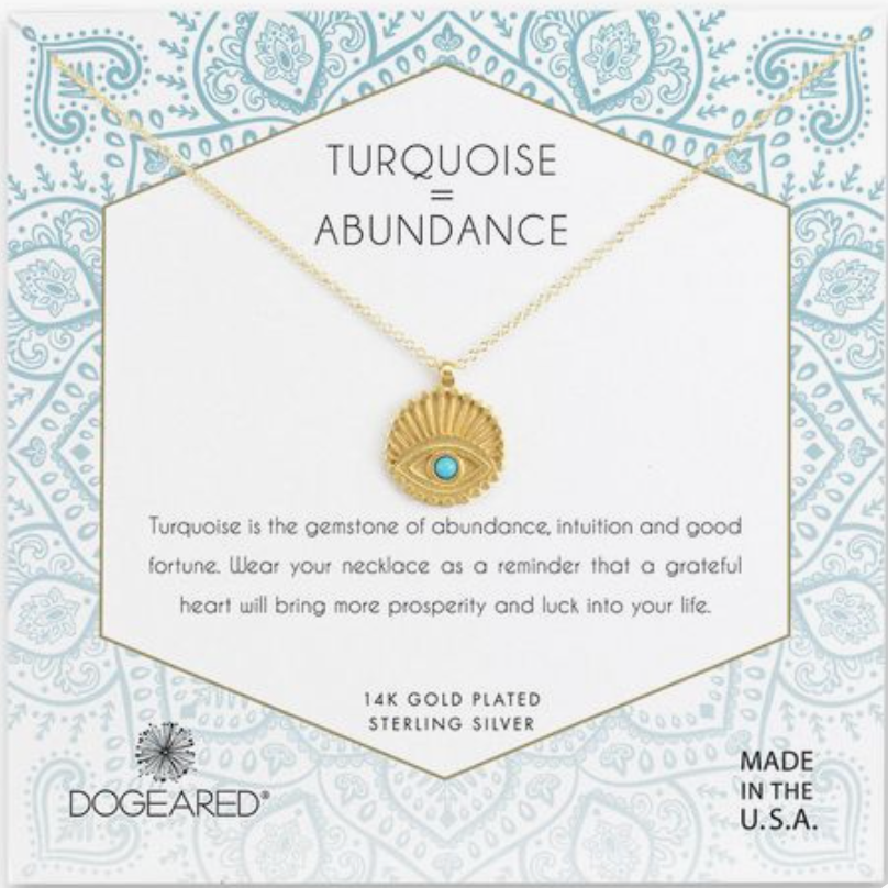 Dogeared Gold Turquoise Abundance Evil Eye with Turquoise Necklace
