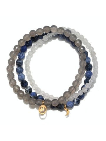 Satya Gold Sodalite Agate White Jade Stretch Bracelet Set