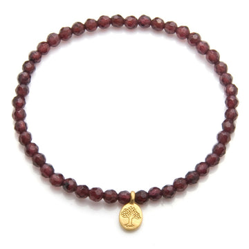 Satya Gold Garnet Mini Tree of Life Bracelet