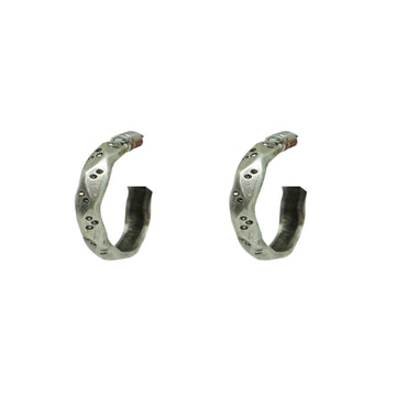 TAT2 Vintage SIlver Thin Wave Hoop Earrings