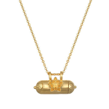 Satya Gold Grateful Expansion Lotus Tube Necklace