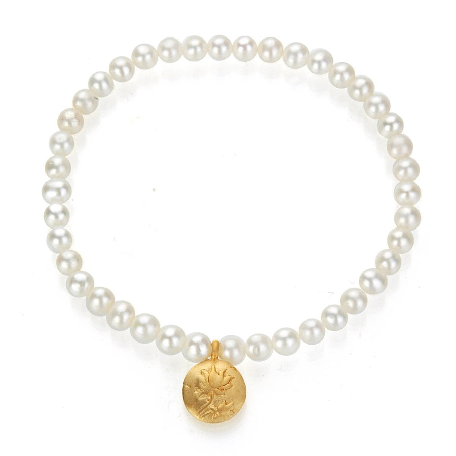 Satya Gold Pearl Lotus Stretch Bracelet