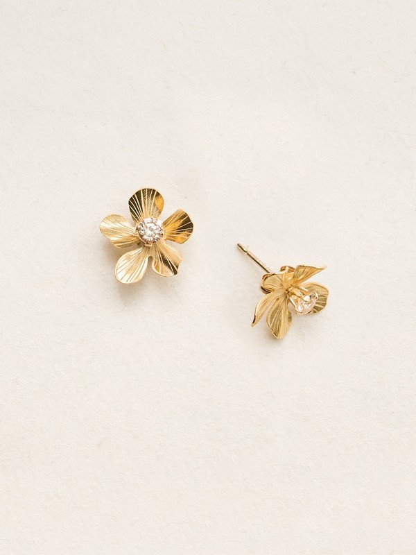 Holly Yashi Petite Plumeria Post Earrings - Gold/Champagne
