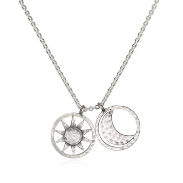 Silver Sun and Moon Necklace 18-Inch
