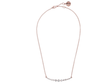 Bronzallure Tapered CZ Curve Bar Necklace