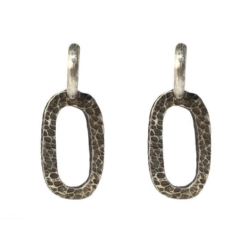 TAT2 Silver Hammered Catena Loop Earrings