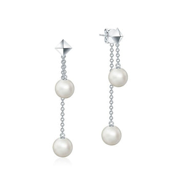 Birks Sterling Rock and Pearl Double Fresh Water Pearls Chain Earrings
