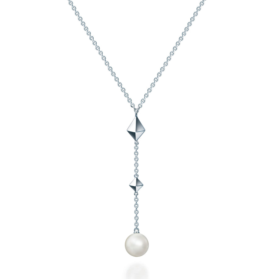 Birks Sterling Rock and Pearl Fresh Water Pearl Y Necklace