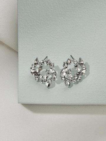 Olive & Piper Silver 'Mila' Wreath Stud Earrings