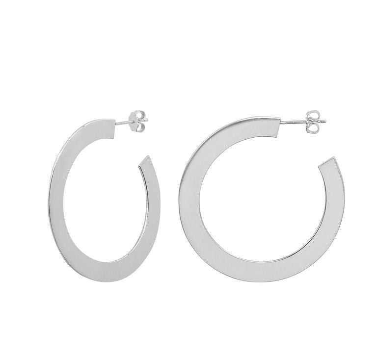 Marseille Sterling Large Flat Hoop Earrings