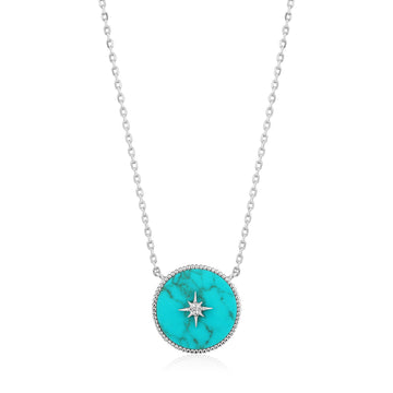 Ania Haie Turquoise Emblem Necklace Silver