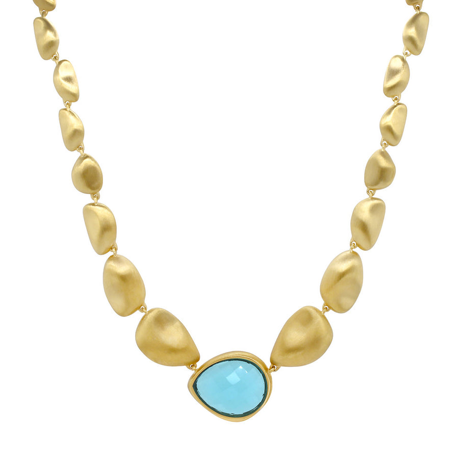Dean Davidson Gold Bead Mar Necklace With Blue Topaz Teardrop